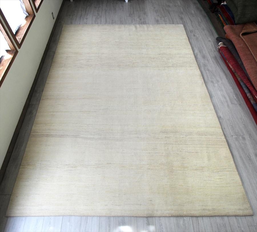 ギャッベ・ノマド Gabbeh Nomad 大型8.5m2リビングサイズラグ350x250cm ナチュラルな羊毛のアイボリー・特大サイズ!