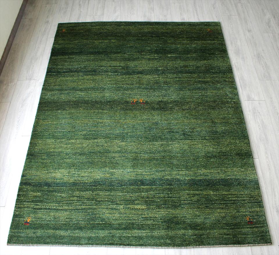 ギャッベ・ノマド リビングサイズ/イラン製カシュカイ族の手織りラグ230x172cm シンプルなブルーグリーンのグラデーション