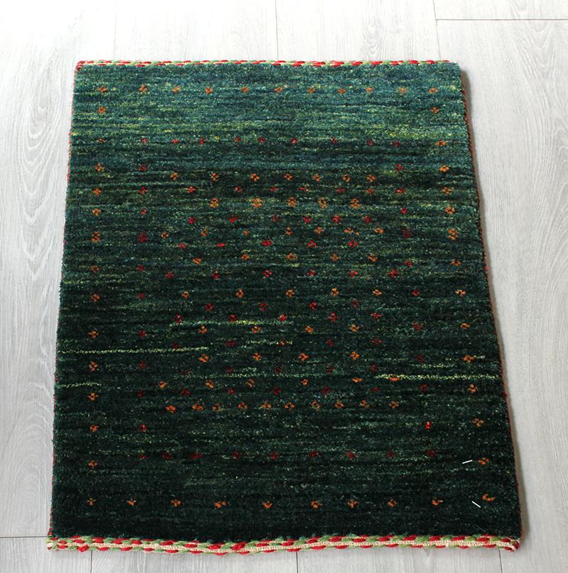 ギャッベ ロリアタシュ 細かな織りの最高級ギャッベ Gabbeh LoriAtash/ミニサイズ56x42cm グリーングラデーション・小さな小花モチーフ