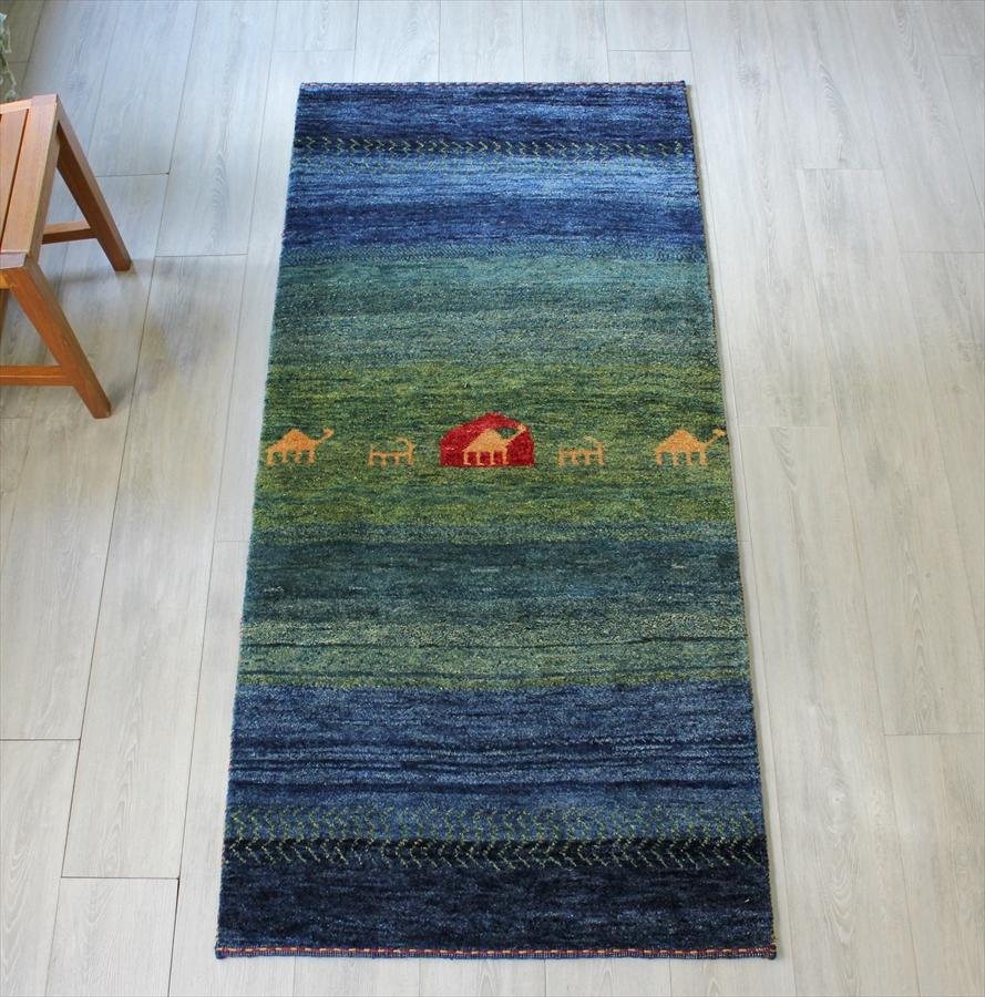 ギャッベ シューウリ・イラン直輸入カシュカイ族の手織りラグ/ランナーサイズ176x83cm ブルー・グリーン・自然風景・草原を歩く動物たち