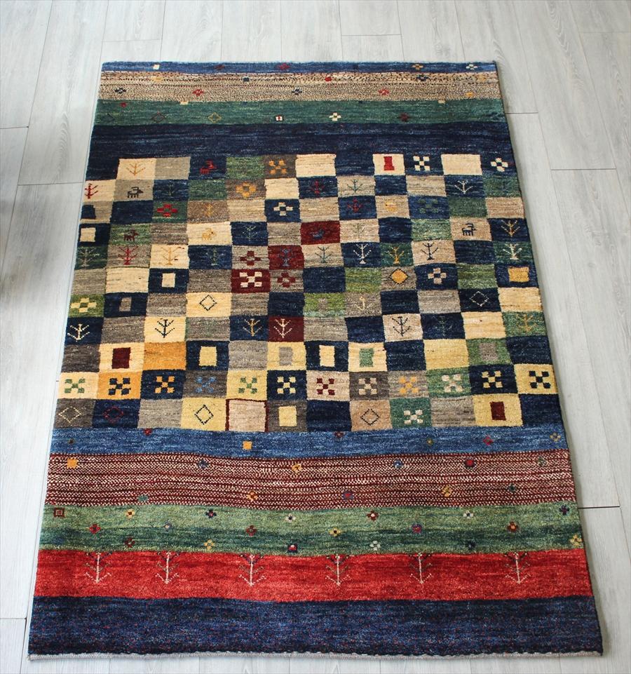 遊牧民の織るギャッベ シューウリ・手織りギャッベ/センターラグ174x118cm カラフルストライプ&小さなタイル