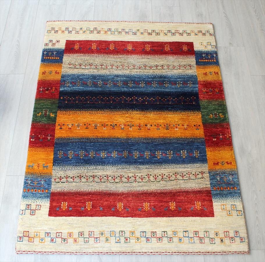 ギャッベアクセントラグ・玄関マット/美しい織りのリズバフ Gabbeh Riz Tajik142x103cm カラフルなストライプ・小さなモチーフ