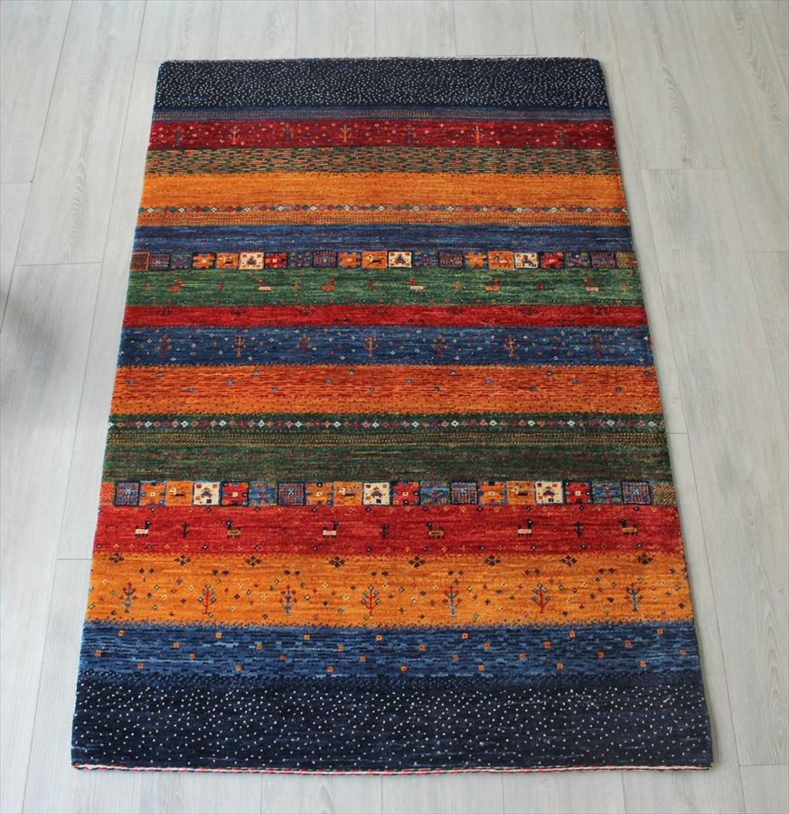 イラン直輸入・ギャッベ/手織りラグリズバフ・センターラグサイズ155x100cm カラフルなストライプ・小さなタイル