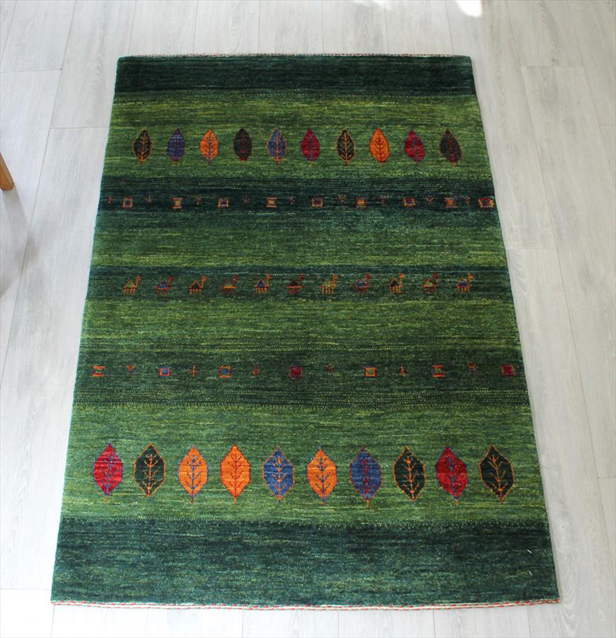 ギャッベ・美しい織りのリズバフ Gabbeh Riz Tajik/アクセントラグ・玄関マット150x100cm グリーン/カラフルなイトスギ