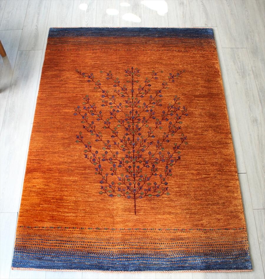 ギャッベノウバフト Gabbeh Nowbaft センターラグサイズ173x122cm イエロー/グリーン 大きな生命の樹