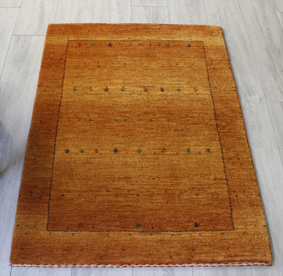 ギャッベ/ロリアタシュ・カシュカイ族の手織りラグ・アクセントラグサイズ117x82cm オレンジグラデーション・カラフルな生命の樹