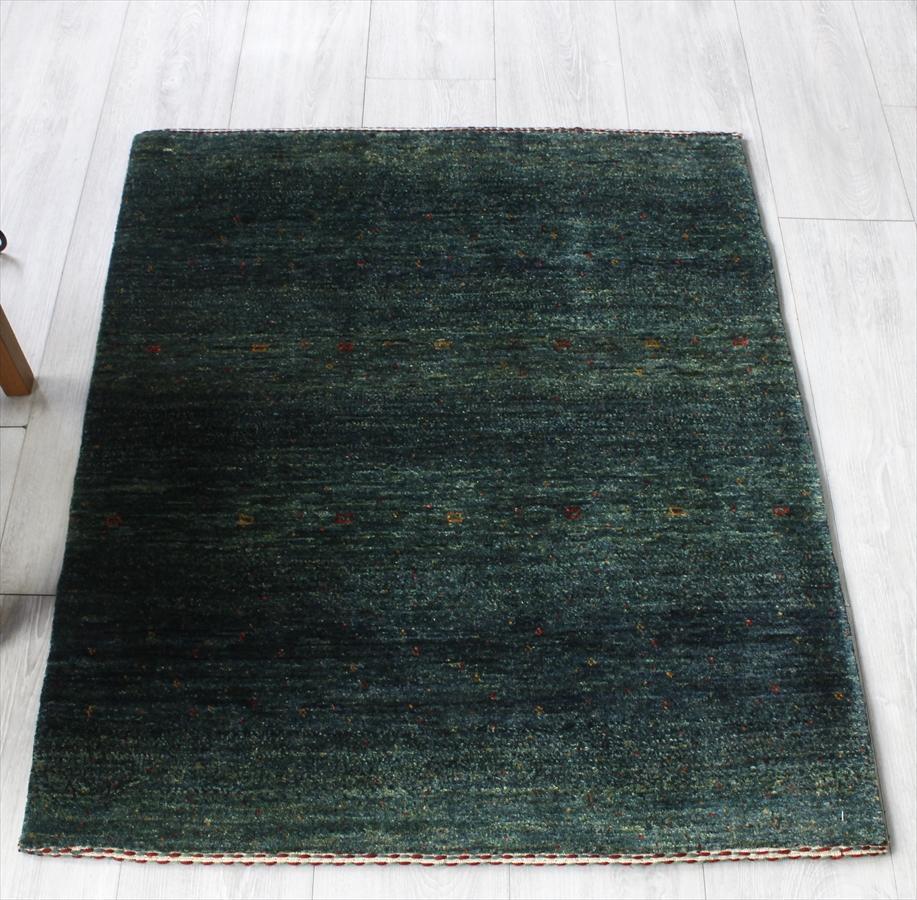 ギャッベ/ロリアタシュ・カシュカイ族の手織りラグ・アクセントラグサイズ100x84cm ブルーグリーングラデーション・小花モチーフ