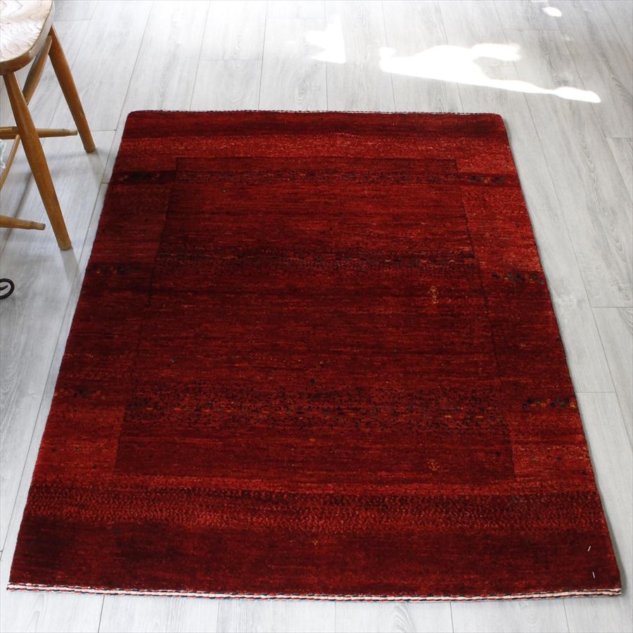 ギャッベ/ギャベ・カシュカイ族の手織りラグ・バナフシェ・アクセントラグサイズ136x100cm レッドグラデーション・スクエアデザイン