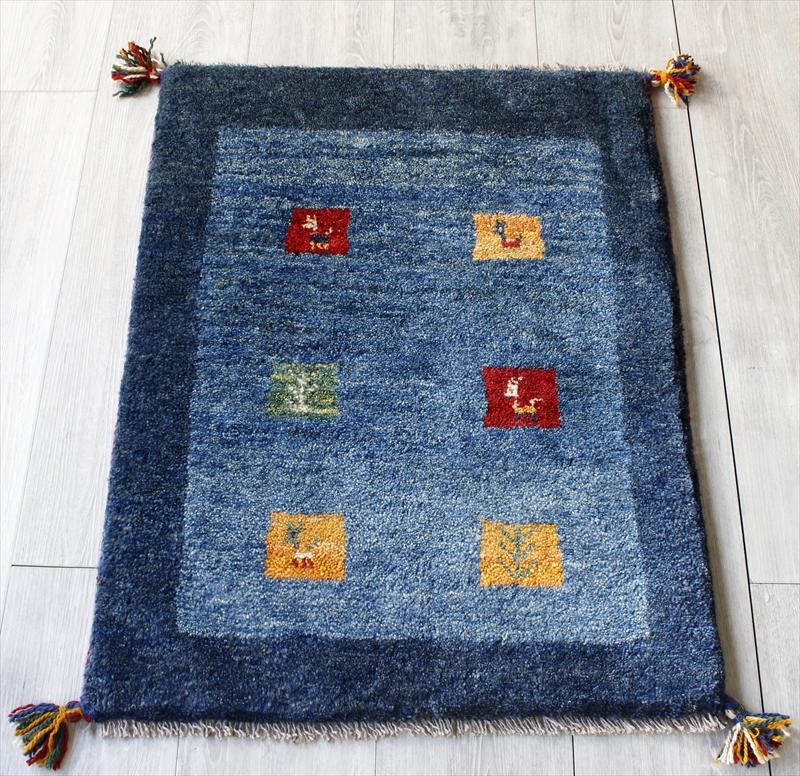 ラグ・ギャッベ(ギャベ)カシュカイ族の手織りラグ・玄関マットサイズ83x60cm ブルー/ブルー・カラフルスクエア・動物と植物のモチーフ