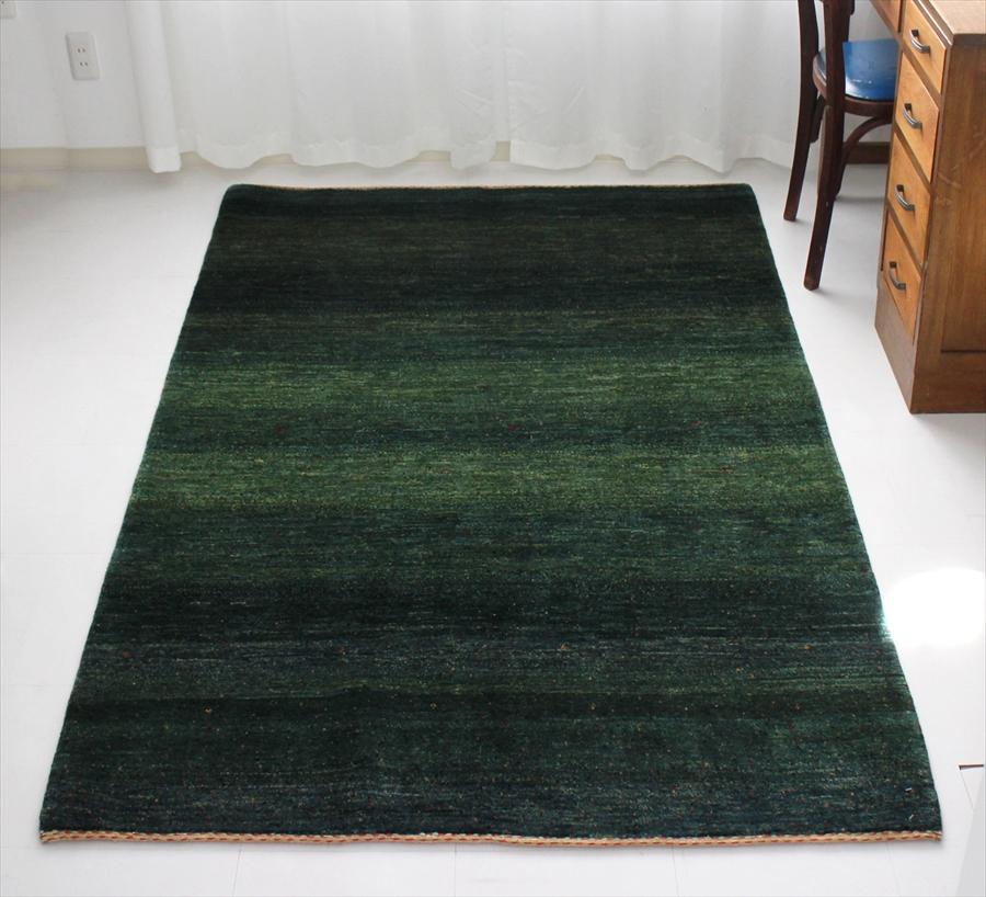 ギャッベ・ロリアタシュ最高級の細かな織り・センターラグサイズ187x130cm グリーングラデーション・ドットとスクエアモチーフ