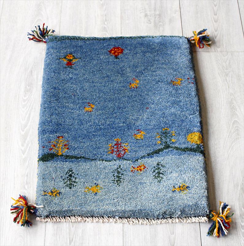 ラグ・ギャッベ(ギャベ)カシュカイ族の手織りラグ・ミニサイズ58x42cm ブルー・動物と植物モチーフ