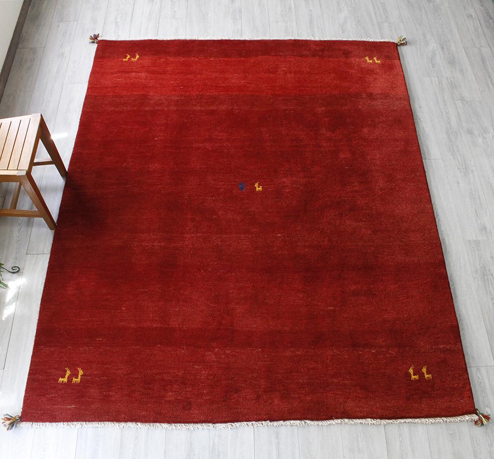 ギャベ ギャッベ カシュカイ族の手織りラグ・大型ルームサイズ246x197cm レッド・動物モチーフ