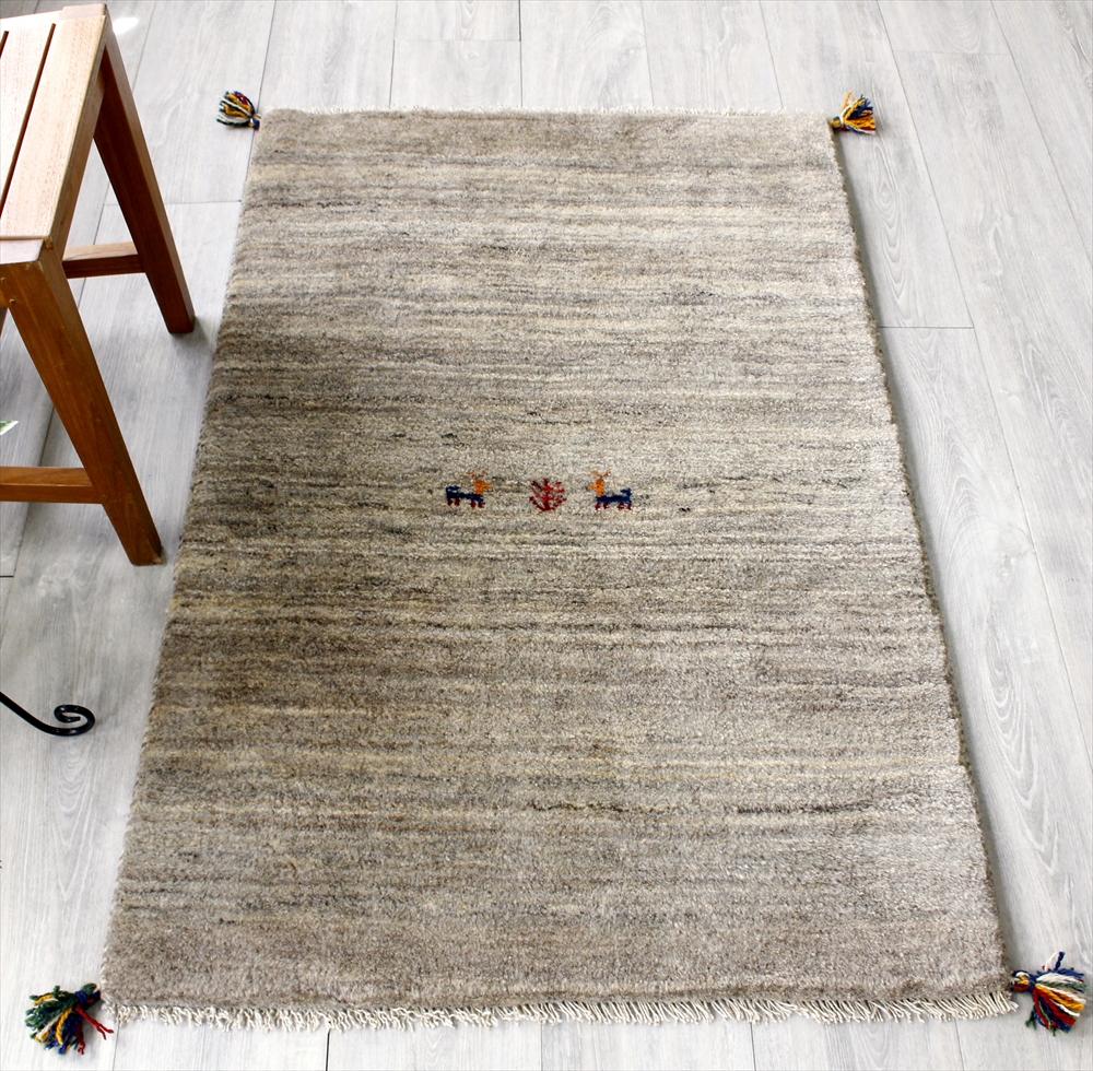ラグ・カシュカイ族の手織り絨毯・ギャッベ(ギャッベ)/アクセントラグサイズ124x81cm ナチュラルブラウングラデーション・動物と植物のモチーフ
