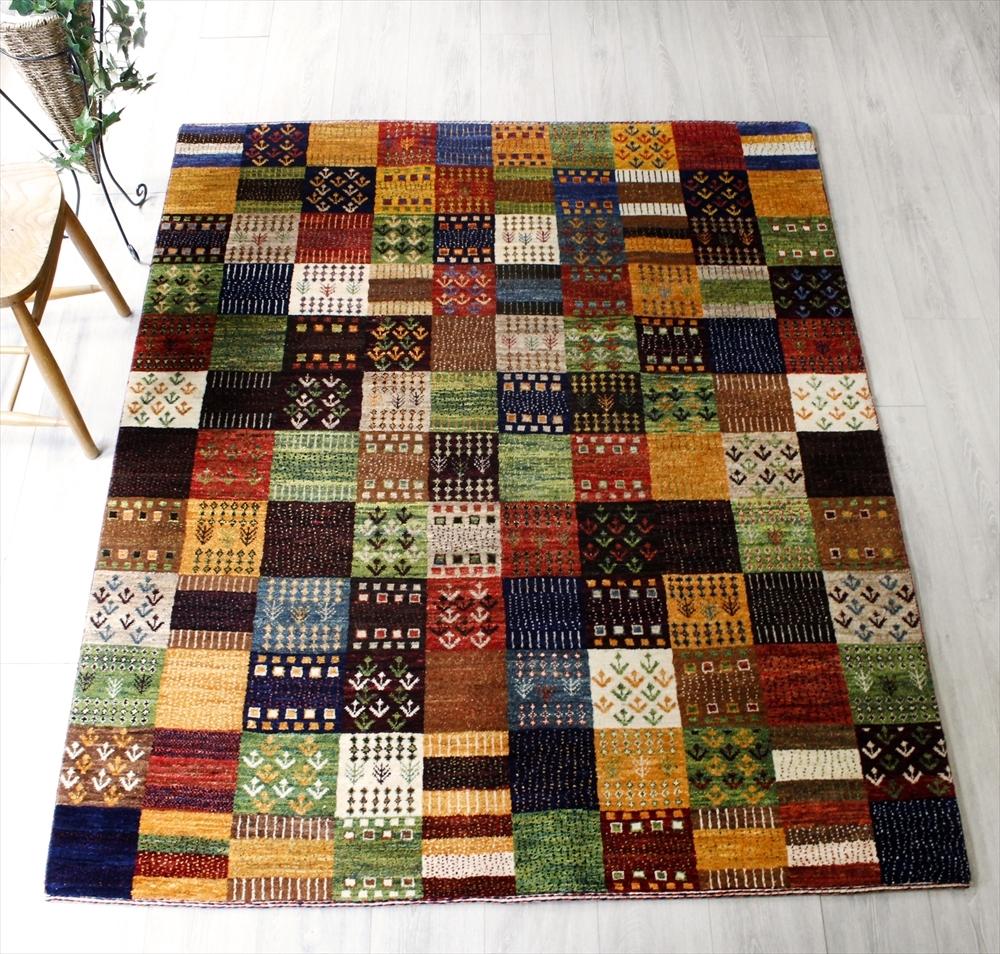 ギャッベ・センターラグサイズ・リズバフト Rizbaft細かな織り187x155cm アースカラーのタイル 細かなモチーフ