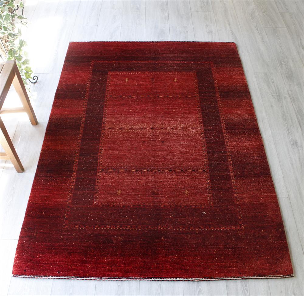 ギャッベ ギャベ カシュカイ族の手織りラグ・センターラグサイズ175x122cm レッド・スクエアデザイン