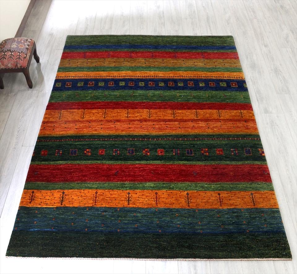 ギャベ ギャッベ 美しい織りのリズバフ Gabbeh Riz Tajik /リビングサイズ231x168cm カラフルストライプボーダー・スクエアと動物と植物のモチーフ