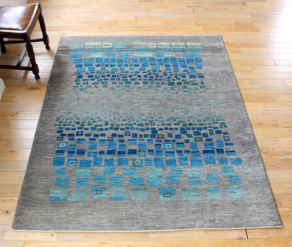 ギャッベ/ギャベ・カシュカイ族の手織りラグ・カシュクーリ・センターラグサイズ193x150cm グレー&ブルーグリーンタイル