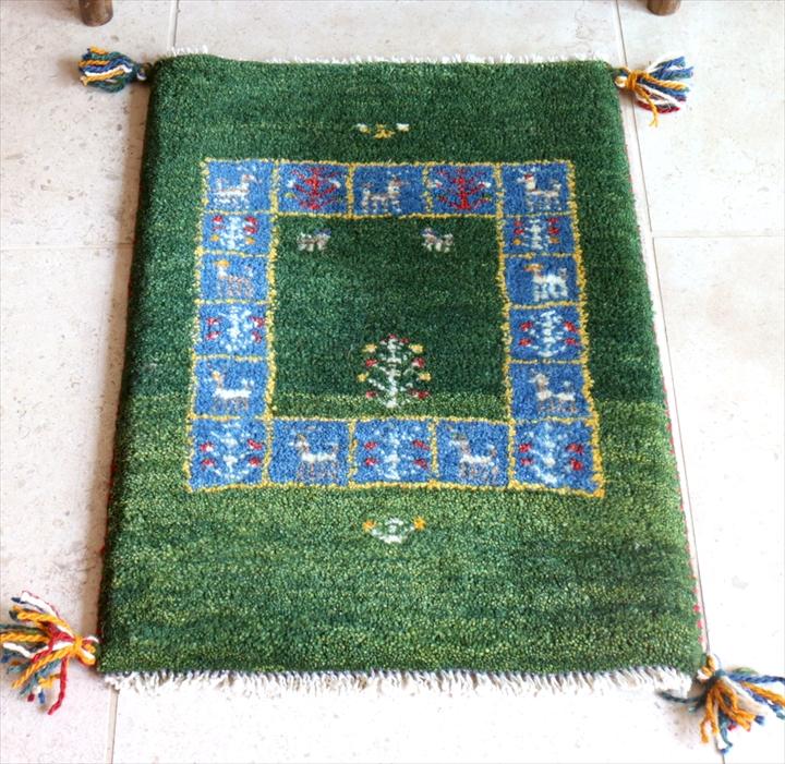 イラン直輸入・ウール100%ギャッベ・カシュカイ族の手織りラグ57x41cm ミニサイズ・グリーン/ブルー