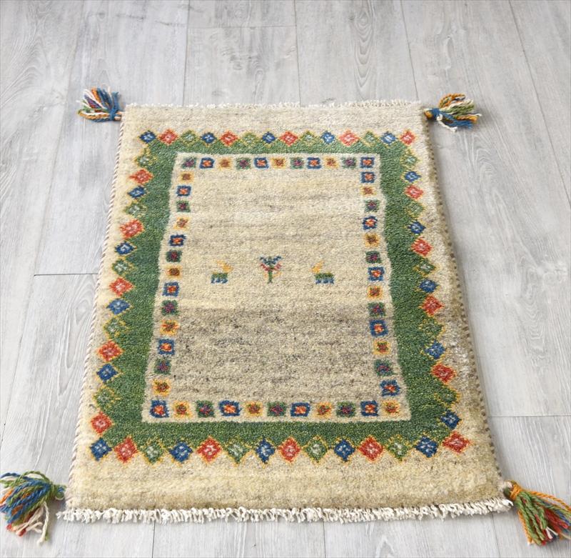 ギャッベ(ギャベ)カシュカイ族の手織りラグ・Gabbeh・玄関サイズ76x48cm ブラウン/グリーン 幾何学模様 動物モチーフ