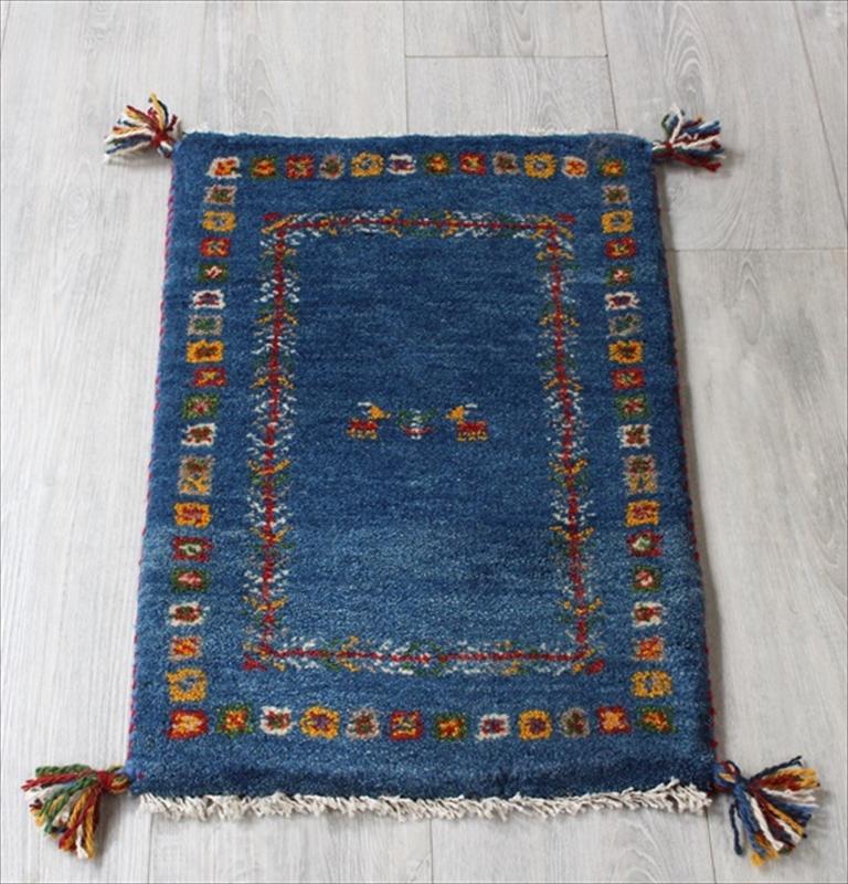 ギャッベ ミニ ギャベ 手織りイランラグ 一点もの ミニサイズ61x40cm ブルー/カラフルスクエアボーダー・動物と植物のモチーフ