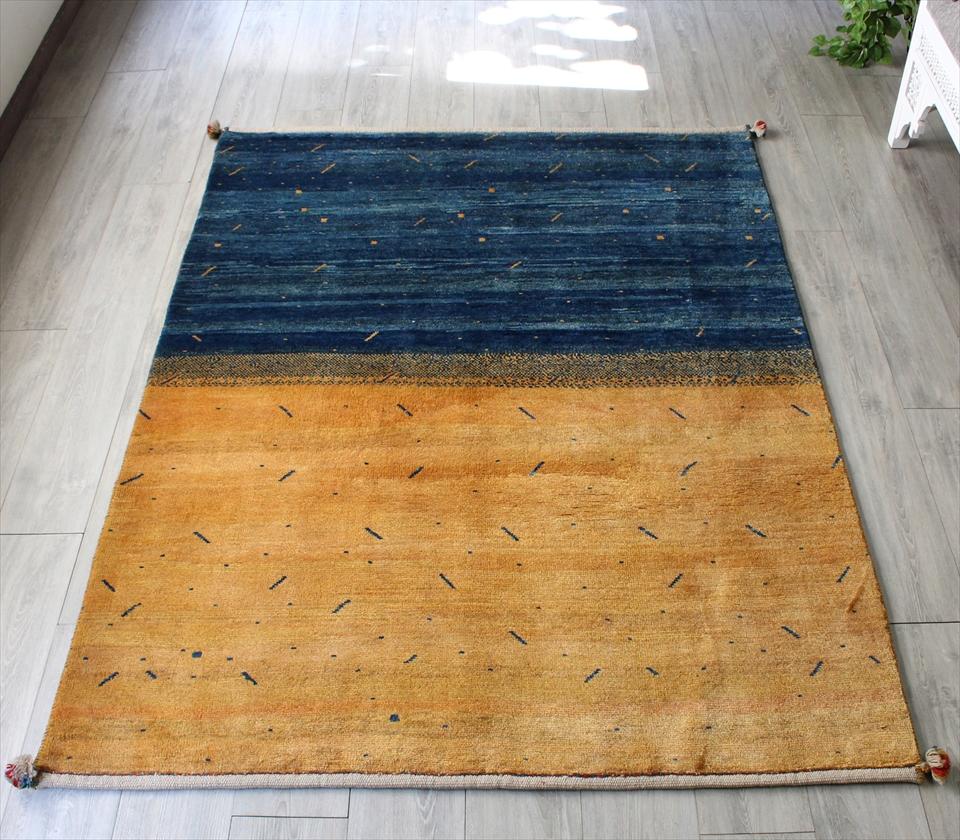 ギャッベ/ギャベ・カシュカイ族の手織りラグ・センターラグサイズ198x145cm ネープルスイエローとインディゴブルーの2トーン