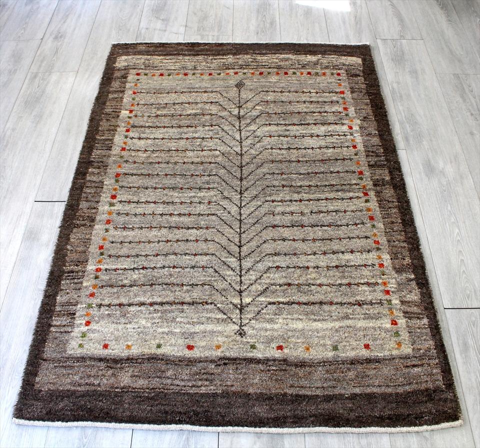 ギャッベ/ギャベ・カシュカイ族の手織りラグ・アクセントラグサイズ147x97cm ライトブラウン 生命の樹のモチーフ