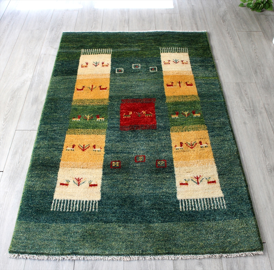 ギャッベ/ギャベ・カシュカイ族の手織りラグ・アマレバフ・アクセントラグサイズ157x96cm ブルーグリーン 細長いタイルグラデーション 動物と植物のモチーフ