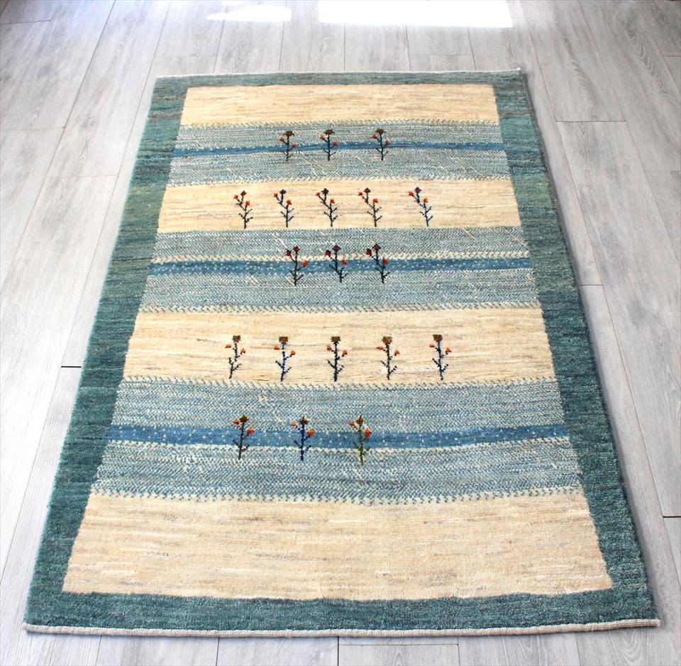 ギャッベ/ギャベ・カシュカイ族の手織りラグ・アマレバフ・アクセントラグサイズ166x101cm アイボリー&ペールブルーのグラデーション