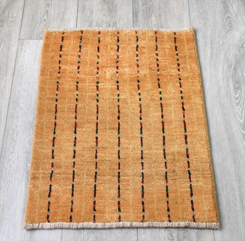 ギャッベ/ギャベ・カシュカイ族の手織りラグ・ミニサイズ60x49cm イエロー カラフルストライプ