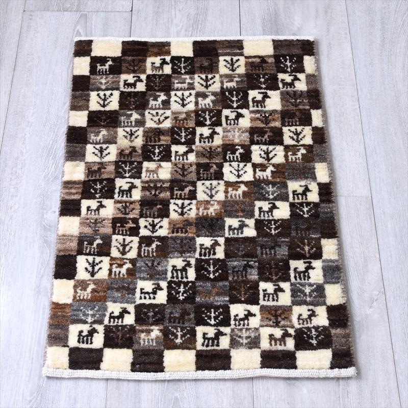 ギャッベ/ギャベ・カシュカイ族の手織りラグ・カシュクーリ・ミニサイズ59x39cm アイボリー・ナチュラルカラーのタイル