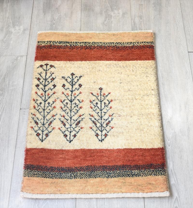 ギャッベ/ギャベ・カシュカイ族の手織りラグ・カシュクーリ・ミニサイズ60x40cm アイボリー イエローとレッドのボーダー 植物のモチーフ