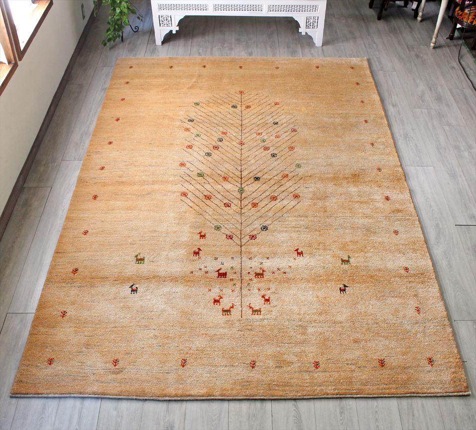ギャッベ gabbeh イラン・シラーズ  Zahra ザフラ カシュカイ族の手織りラグ・大型ルームサイズ303x203cm ライトブラウン シンプルデザイン 生命の樹