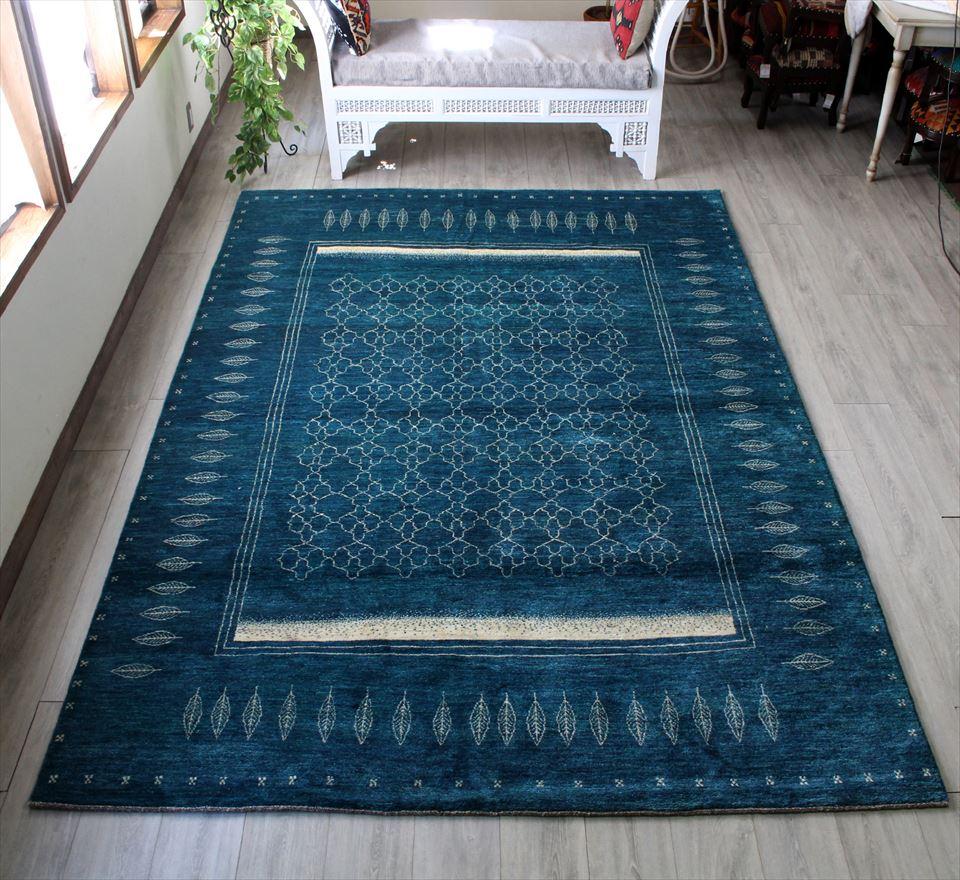 ギャッベ gabbeh イラン・シラーズ ・カシュカイ族の手織りラグ・カシュクーリ・大型ルームサイズ299x204cm ブルーグリーン スクエアデザイン 葉のモチーフ