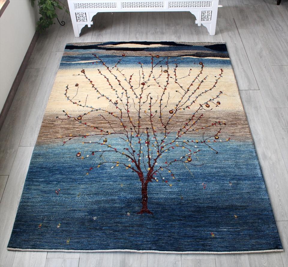ギャッベ/ギャベ・カシュカイ族の手織りラグ・カシュクーリ・リビングサイズ215x153cm インディーブルーとアイボリー リンゴの木
