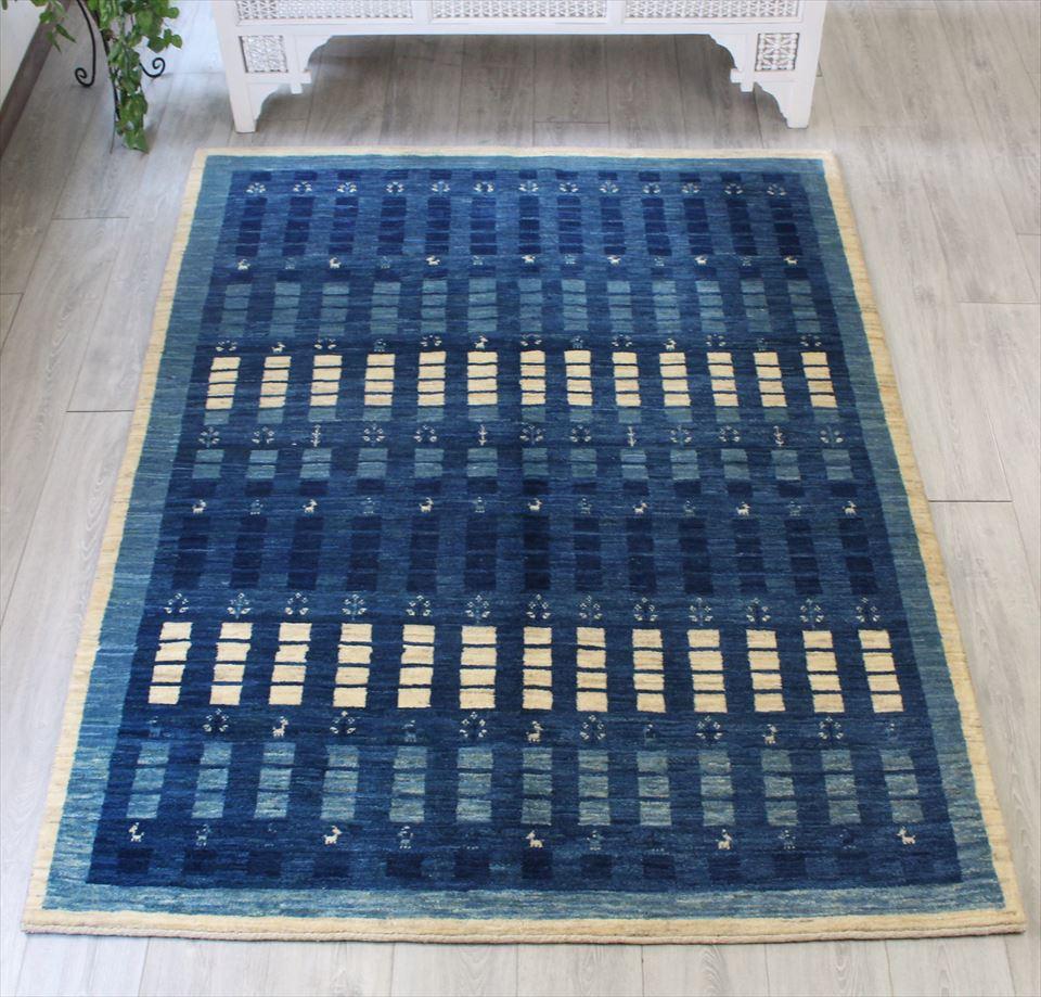 ギャッベ gabbeh イラン・シラーズ ・カシュカイ族の手織りラグ・アマレバフ・リビングサイズ198x153cm ブルー 小さなタイルのボーダー