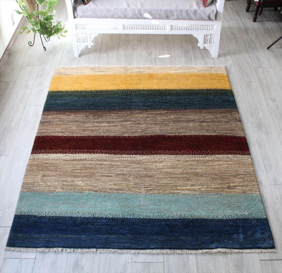 ギャッベ イラン直輸入・天然ウール使用の本格派ラグ ・カシュカイ族の手織りラグ・リビングサイズ196x160cm 6色のカラフルなボーダー