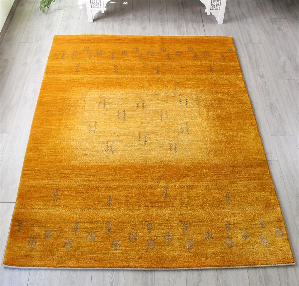 ギャッベ/ギャベ・カシュカイ族の手織りラグ・アマレバフ・リビングサイズ238x177cm ターメリックイエローのグラデーション