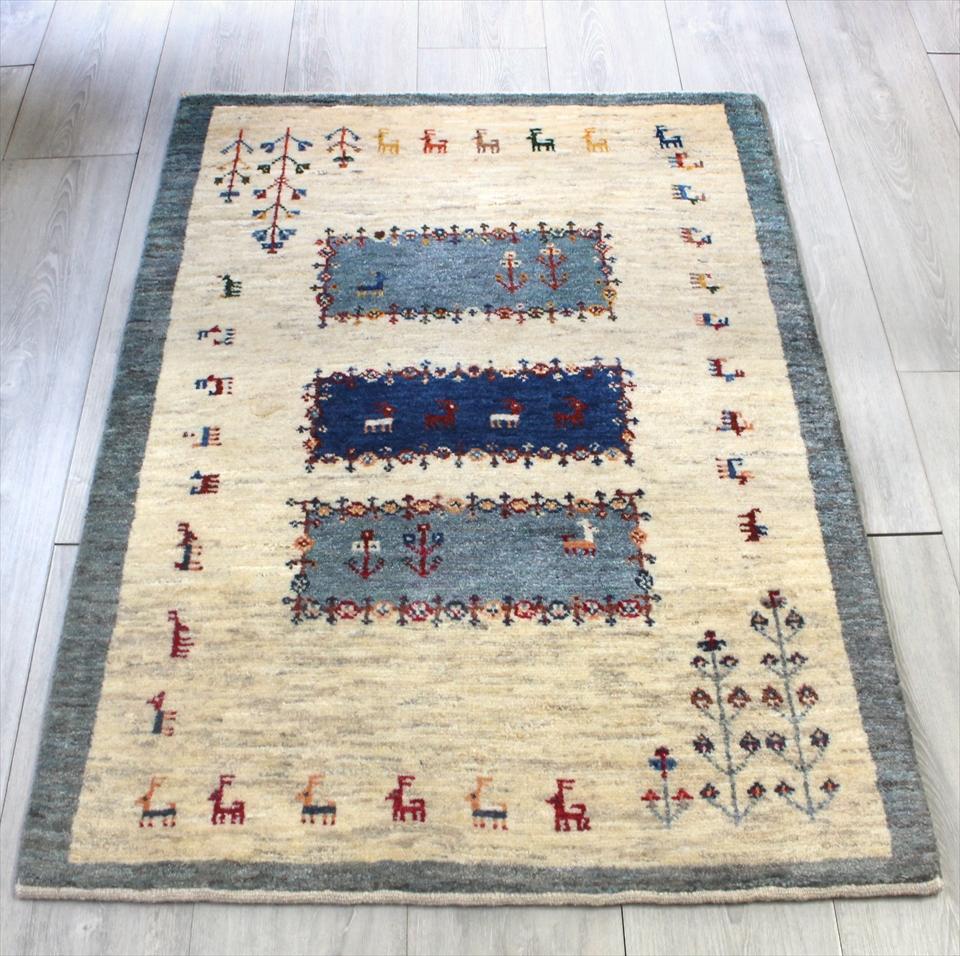 ギャッベ ワンランク上の織り アマレバフ 玄関マット アクセントラグサイズ114x80cm ナチュラルアイボリー/グレイッシュブルー スクエア 動物と植物モチーフ
