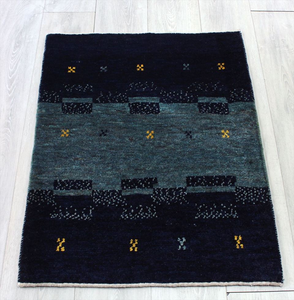 ギャッベ シラーズ ・カシュカイ族の手織り・アマレバフ・85x65cm 玄関マットサイズ ダークなブルーグリーン&ブラック 幾何学モチーフとドット