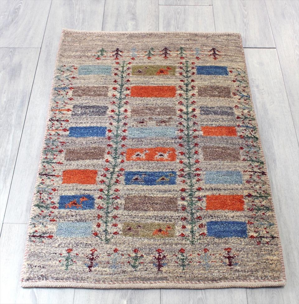 ギャッベ シラーズ ・カシュカイ族の手織り・アマレバフ・玄関マットサイズ85x58cm ナチュラルブラウングレー・カラフルなスクエア 生命の樹 ラクダ