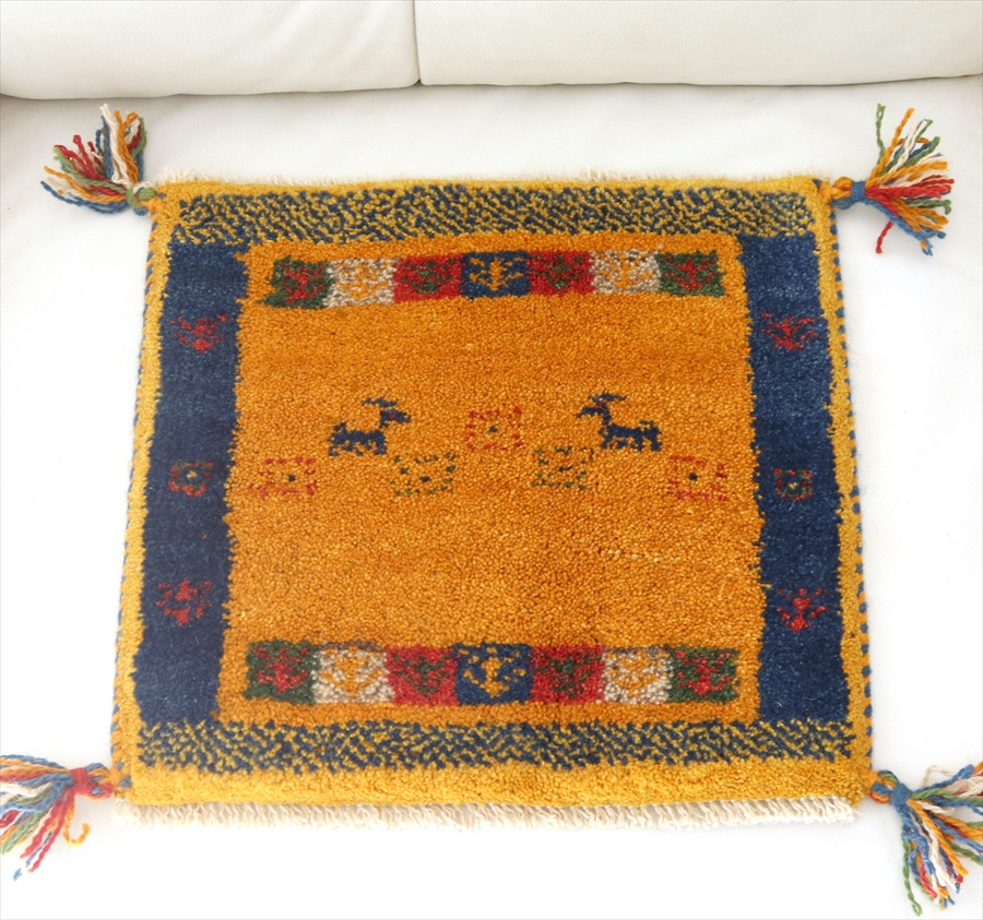 ギャッベ(ギャベ)カシュカイ族の手織りラグ・Gabbeh・座布団サイズ40x42cm イエロー/ブルーのボーダー