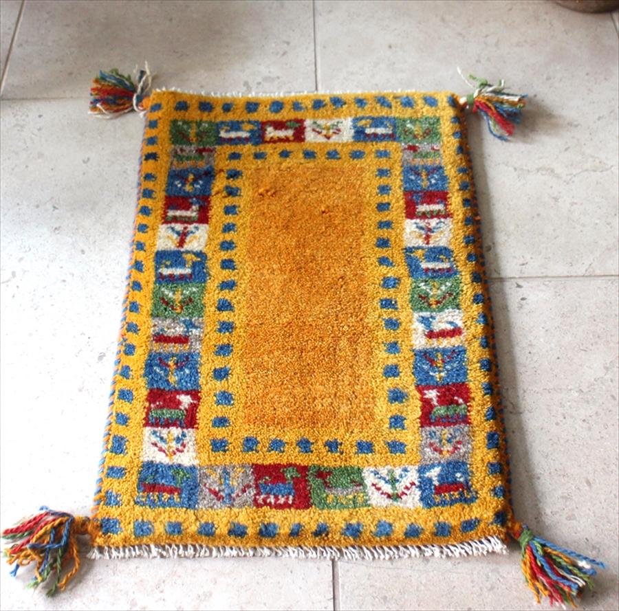 ギャッベ Gabbeh イラン製 ミニ玄関マット カシュカイ族の手織り ミニサイズ58x39cm イエロ^カラフルタイル スクエア 動物と植物モチーフ