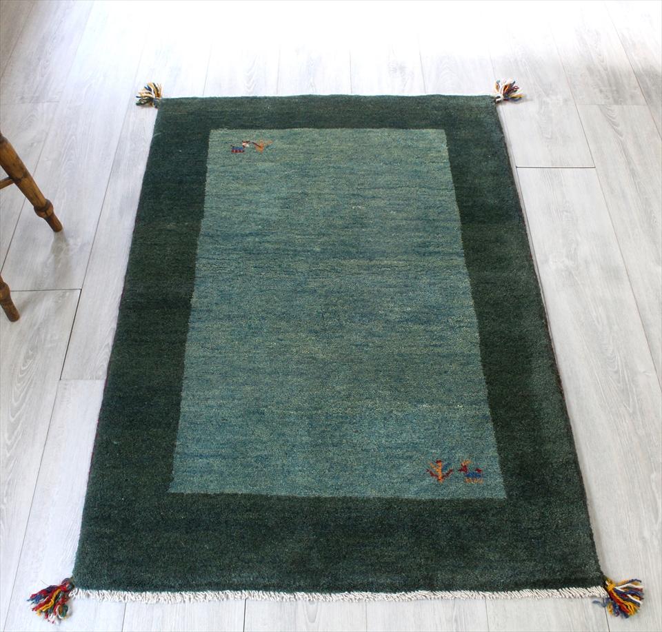 ラグ・ギャッベ(ギャベ)カシュカイ族の手織りラグ・アクセントラグサイズ123x83cm グリーン/グリーン ツートーン 動物と植物のモチーフ