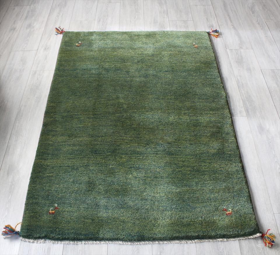 ラグ・ギャッベ(ギャベ)カシュカイ族の手織りラグ・アクセントラグサイズ153x104cm グリーン・動物のモチーフ