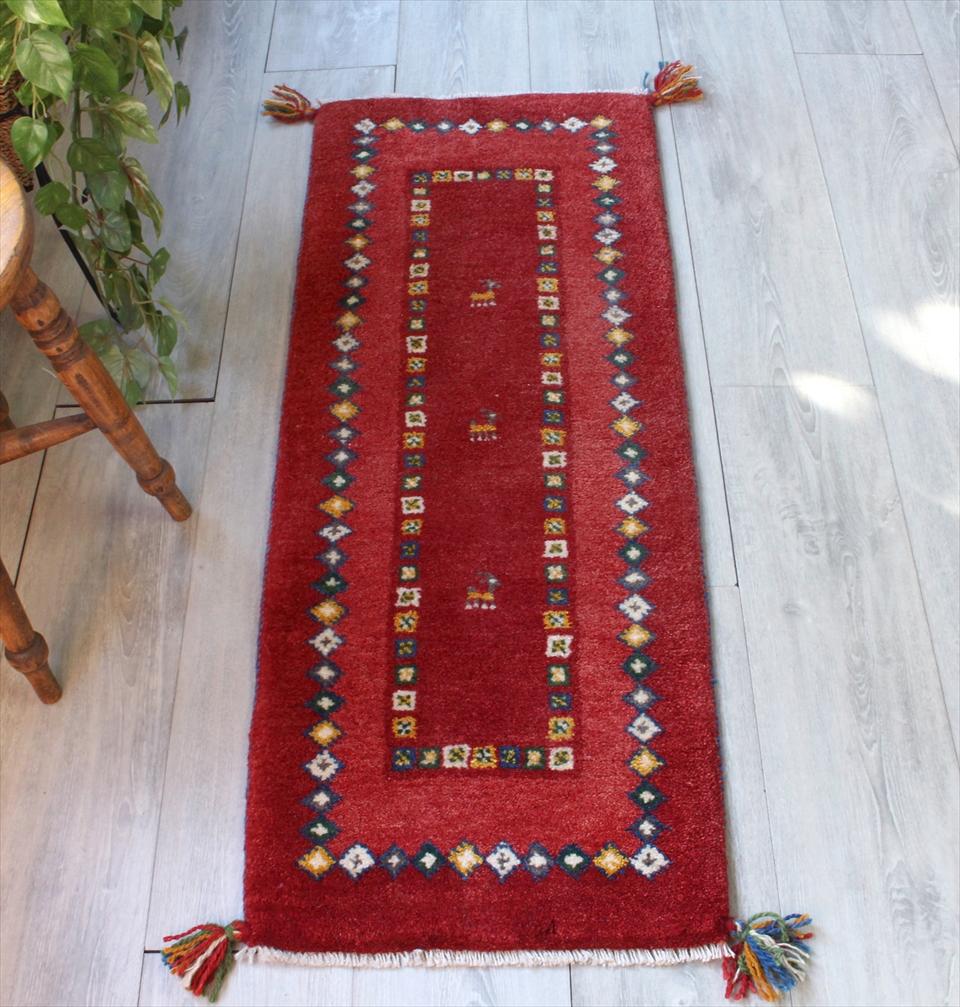 ギャッベ イラン製手織りラグ 細長 ランナーサイズ113x45cm レッド・カラフルなひし形モチーフ 動物モチーフ