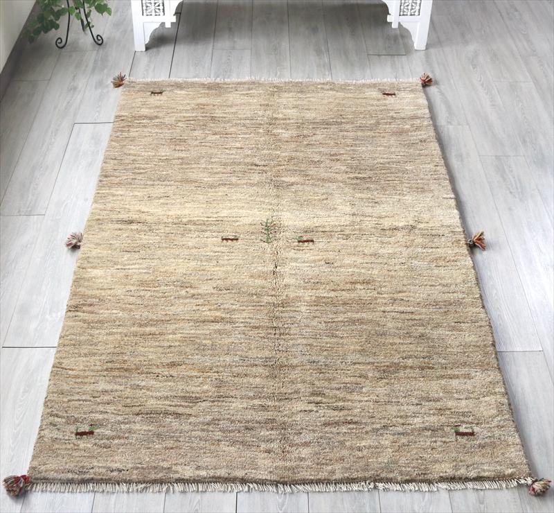 ギャッベ(ギャベ)カシュカイ族の手織りラグ・Gabbeh・センターラグサイズ200x135cm 動物と生命の樹/ナチュラルカラー・グラデーション