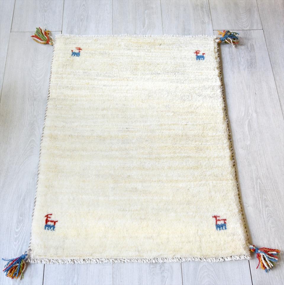 ラグ・ギャッベ(ギャベ)カシュカイ族の手織りラグ・玄関マットサイズ80×59cmアイボリー 動物のモチーフ
