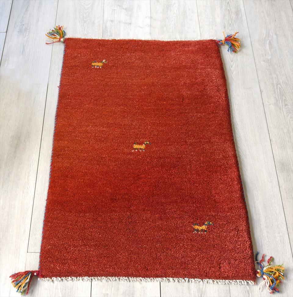 ラグ・ギャッベ(ギャベ)カシュカイ族の手織りラグ・玄関マットサイズ90×60cmレッド 動物のモチーフ