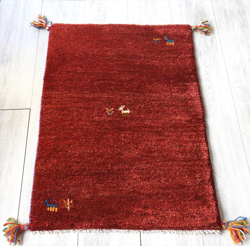 ラグ・ギャッベ(ギャベ)カシュカイ族の手織りラグ・玄関マットサイズ89×58cmレッド 動物のモチーフ