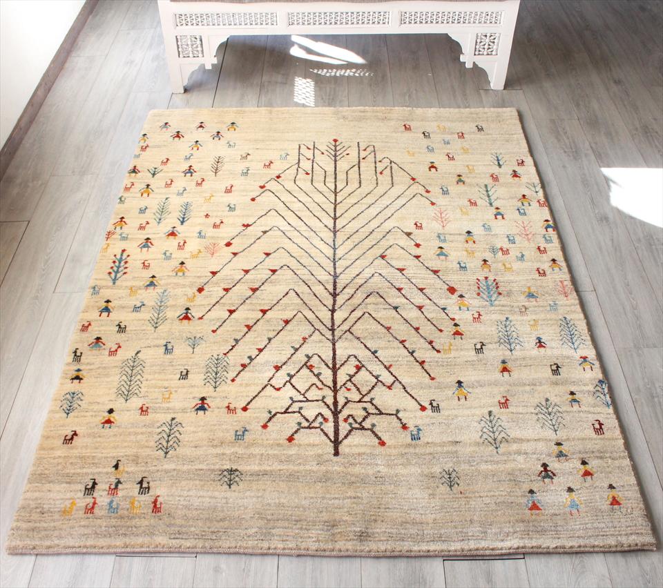 ギャッベ イラン直輸入 ノマド センターラグサイズ187x147cm ナチュラルアイボリー&ブラウン 大きな生命の樹 動物と植物